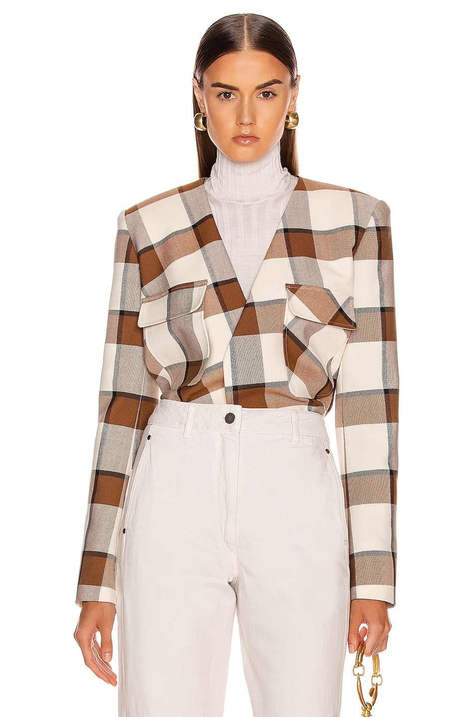 Image 1 of Tibi Dylan Plaid Cropped Jacket in Ivory Multi