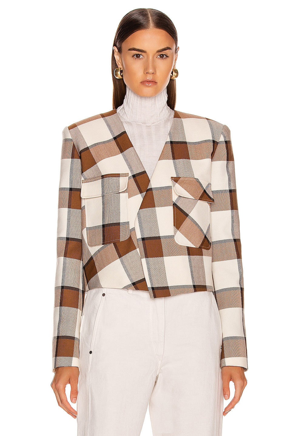 Image 2 of Tibi Dylan Plaid Cropped Jacket in Ivory Multi