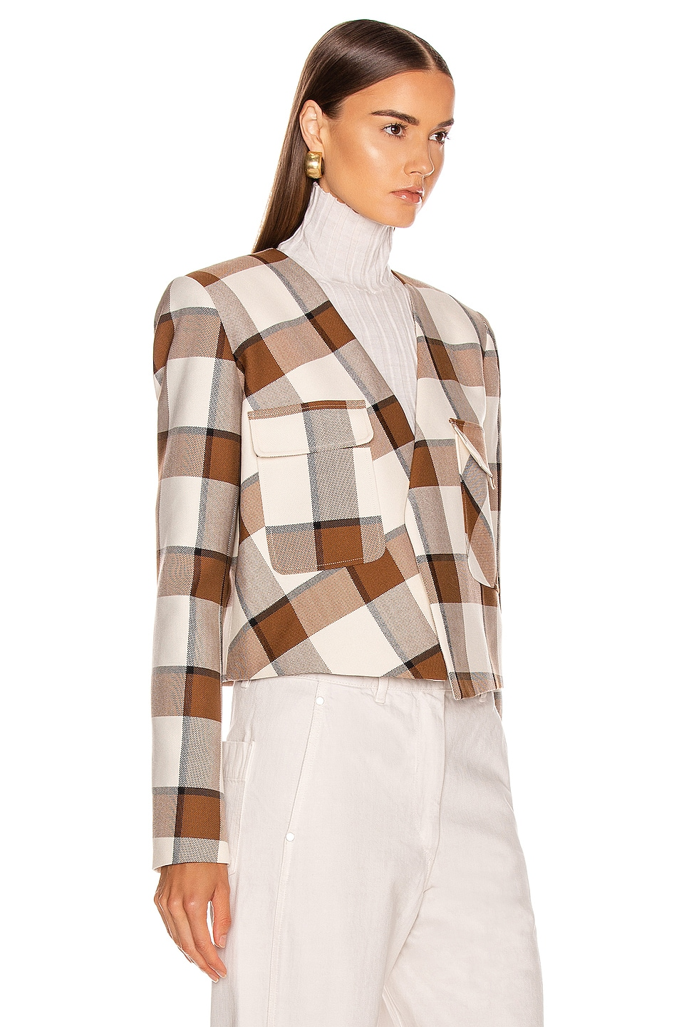 Image 3 of Tibi Dylan Plaid Cropped Jacket in Ivory Multi