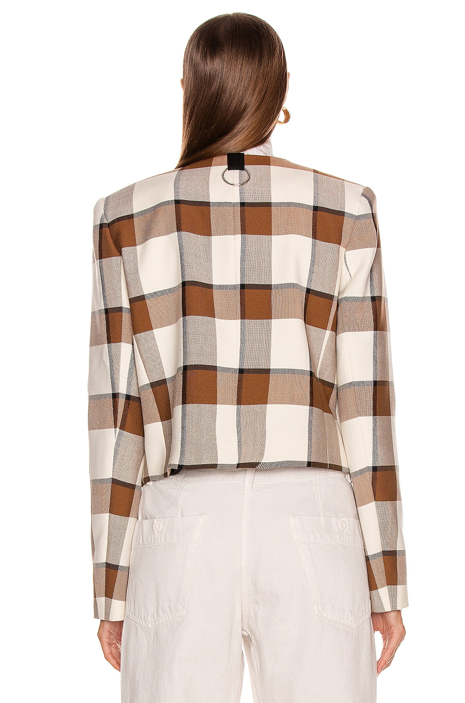Image 4 of Tibi Dylan Plaid Cropped Jacket in Ivory Multi