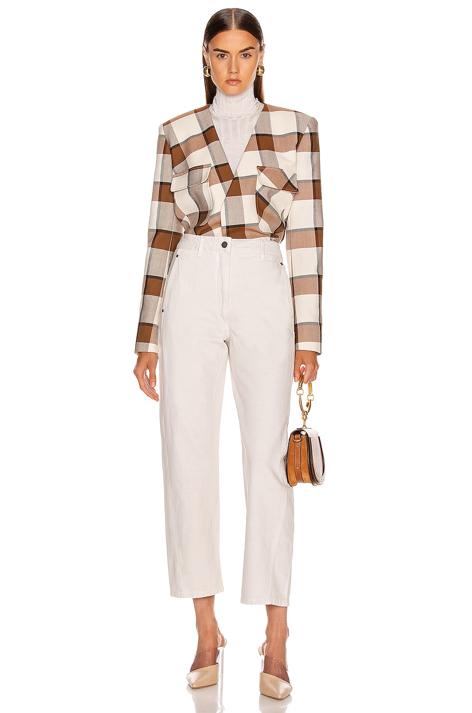 Image 5 of Tibi Dylan Plaid Cropped Jacket in Ivory Multi
