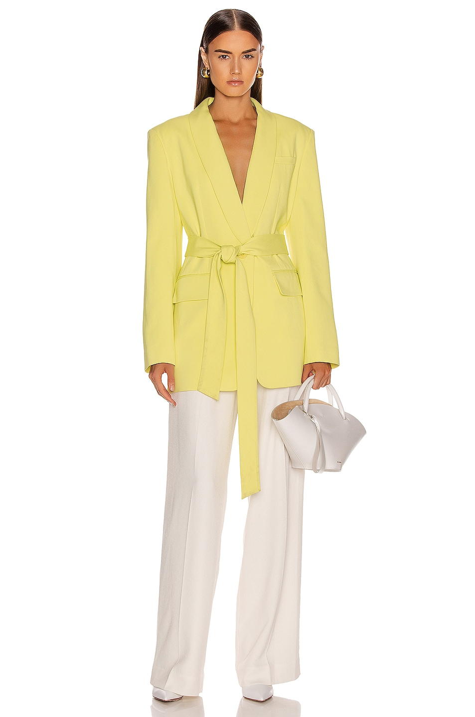 Tibi Oversized Tuxedo Blazer Jacket Acid Yellow Chic