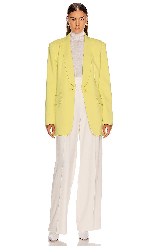 Image 2 of Tibi Oversized Tuxedo Blazer Jacket in Acid Yellow