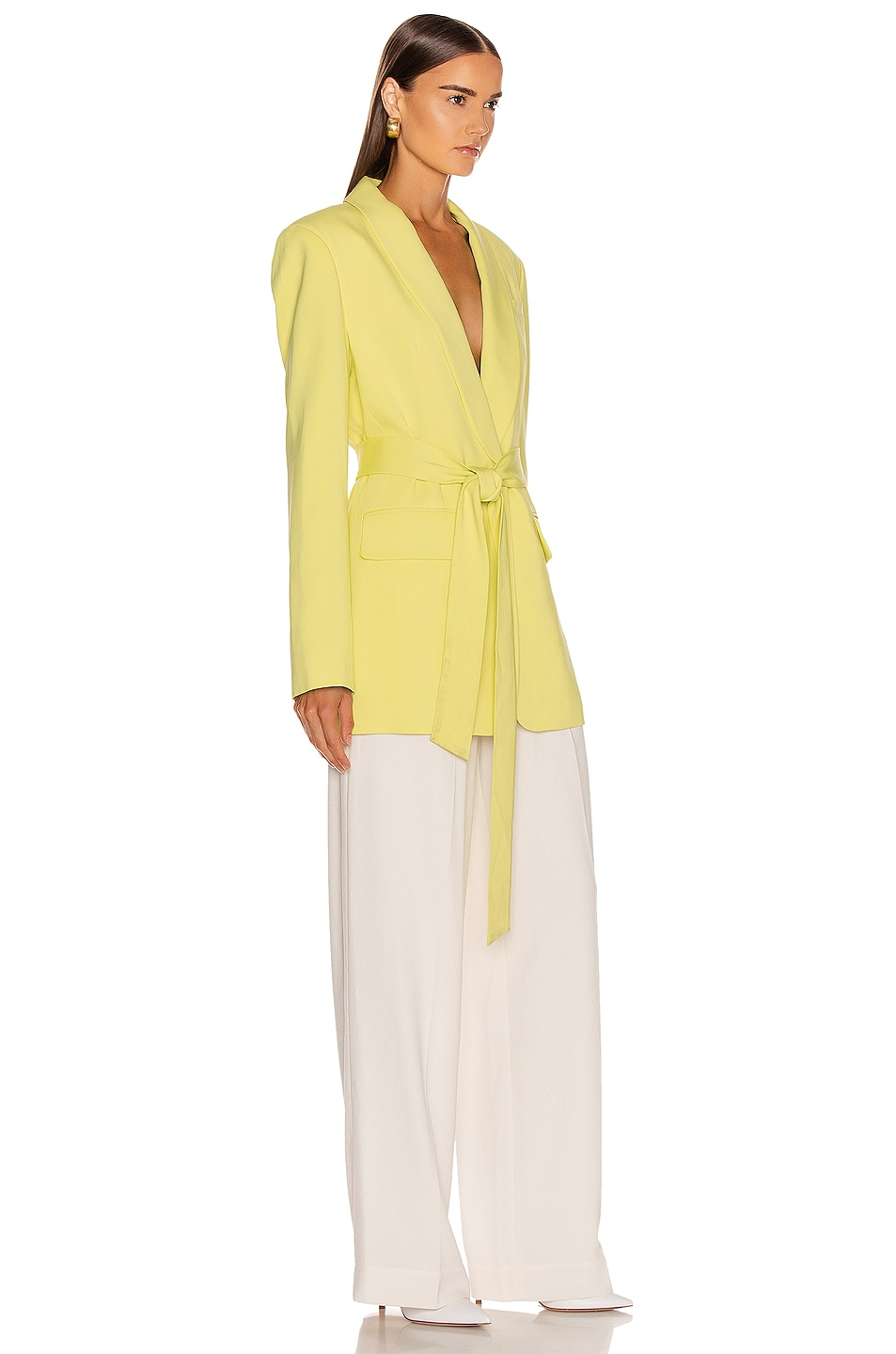 Tibi Oversized Tuxedo Blazer Jacket Acid Yellow Low Cost
