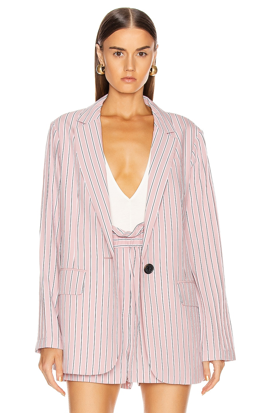 Image 3 of Tibi Oversized Blazer Jacket in Dusty Pink