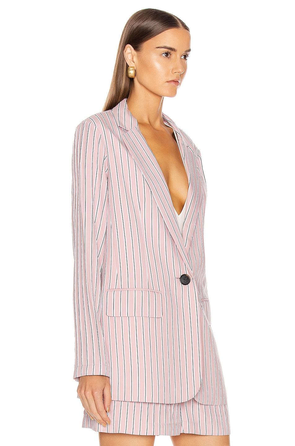 Image 4 of Tibi Oversized Blazer Jacket in Dusty Pink