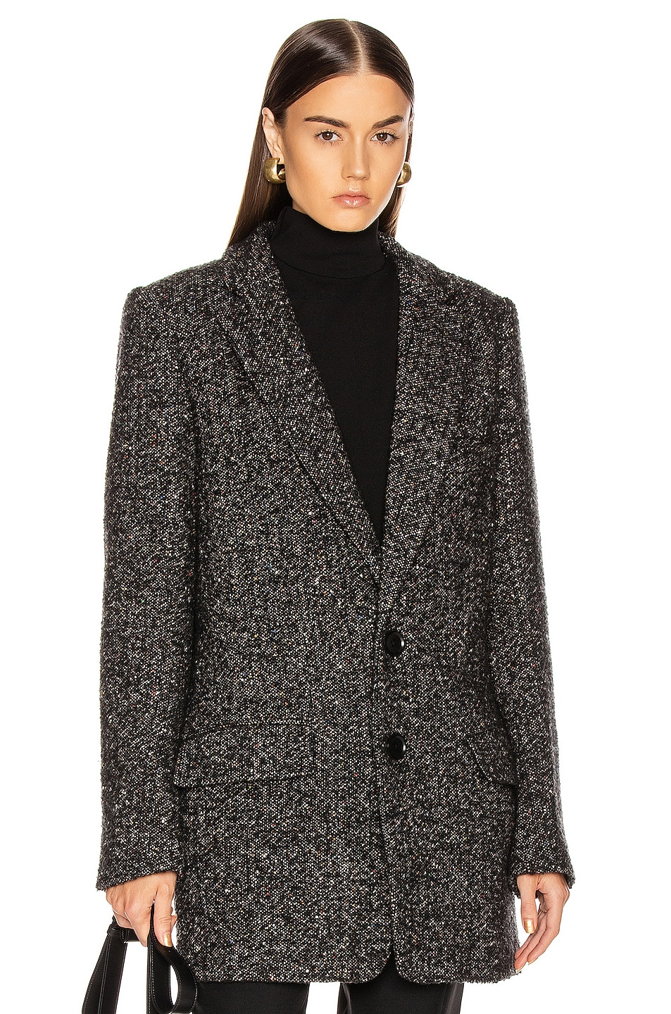 Image 1 of Tibi Multi Color Tweed Long Blazer in Black Multi