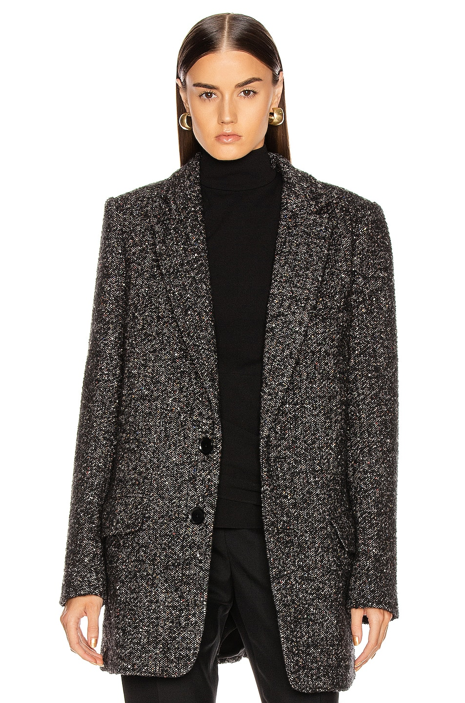 Image 2 of Tibi Multi Color Tweed Long Blazer in Black Multi