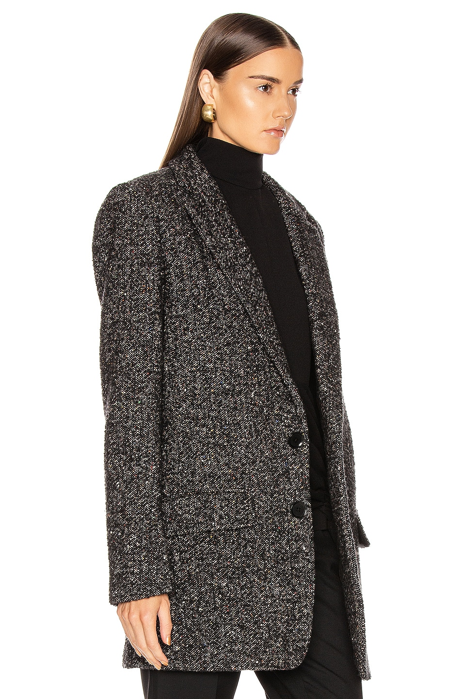 Image 3 of Tibi Multi Color Tweed Long Blazer in Black Multi