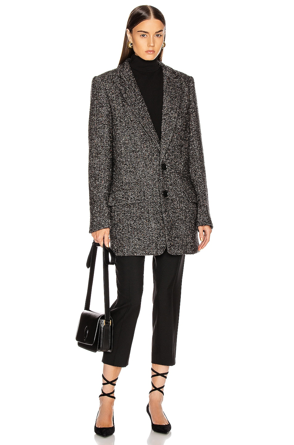 Image 5 of Tibi Multi Color Tweed Long Blazer in Black Multi