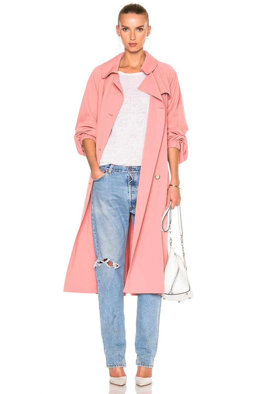 Image 1 of Tibi Twill Trench Coat in Pitaya Pink