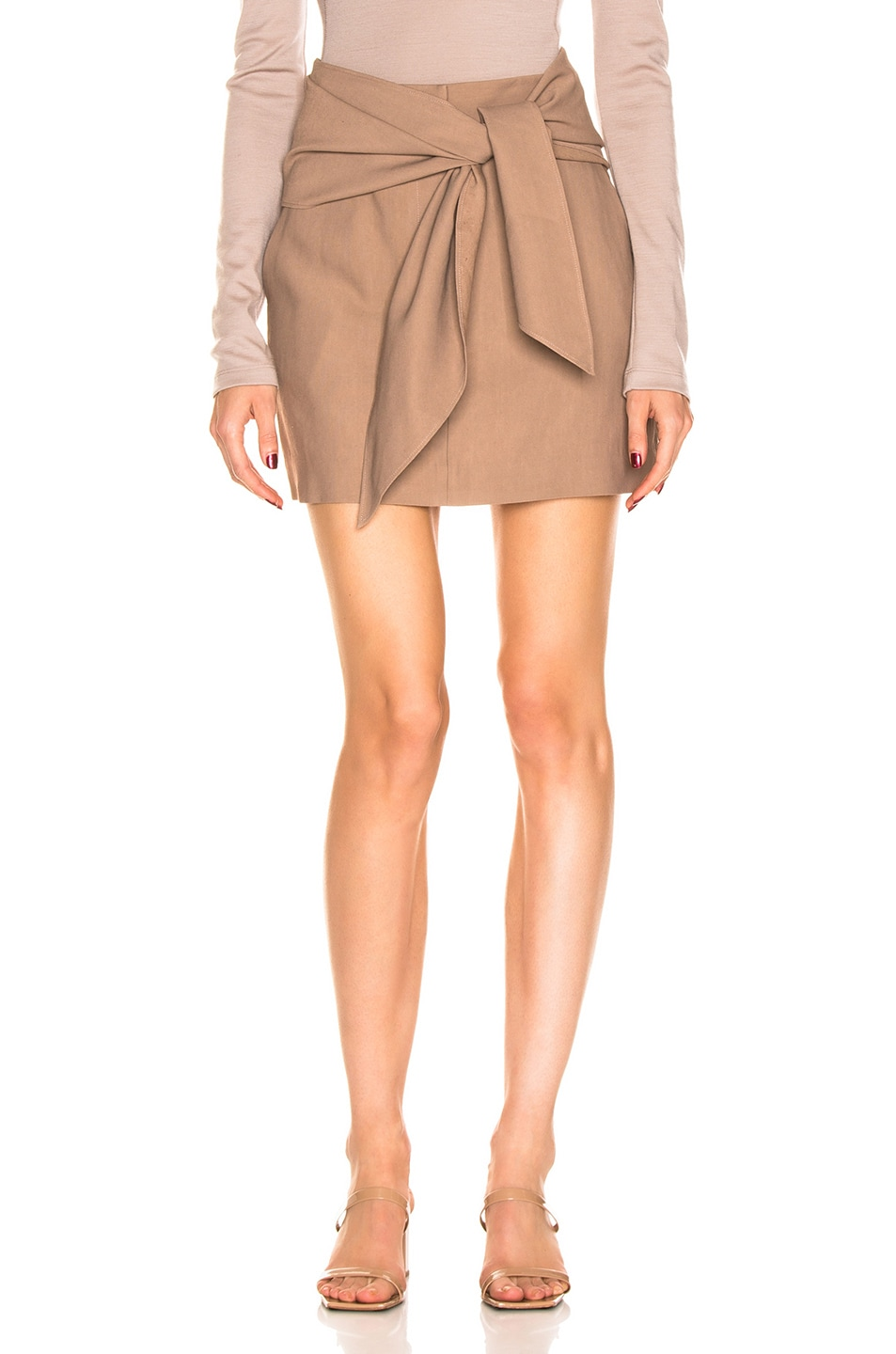 Image 1 of Tibi Linen Suiting Skirt with Detachable Top in Sable Brown