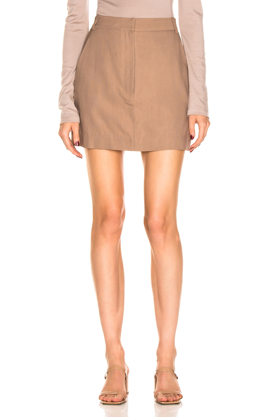 Image 2 of Tibi Linen Suiting Skirt with Detachable Top in Sable Brown