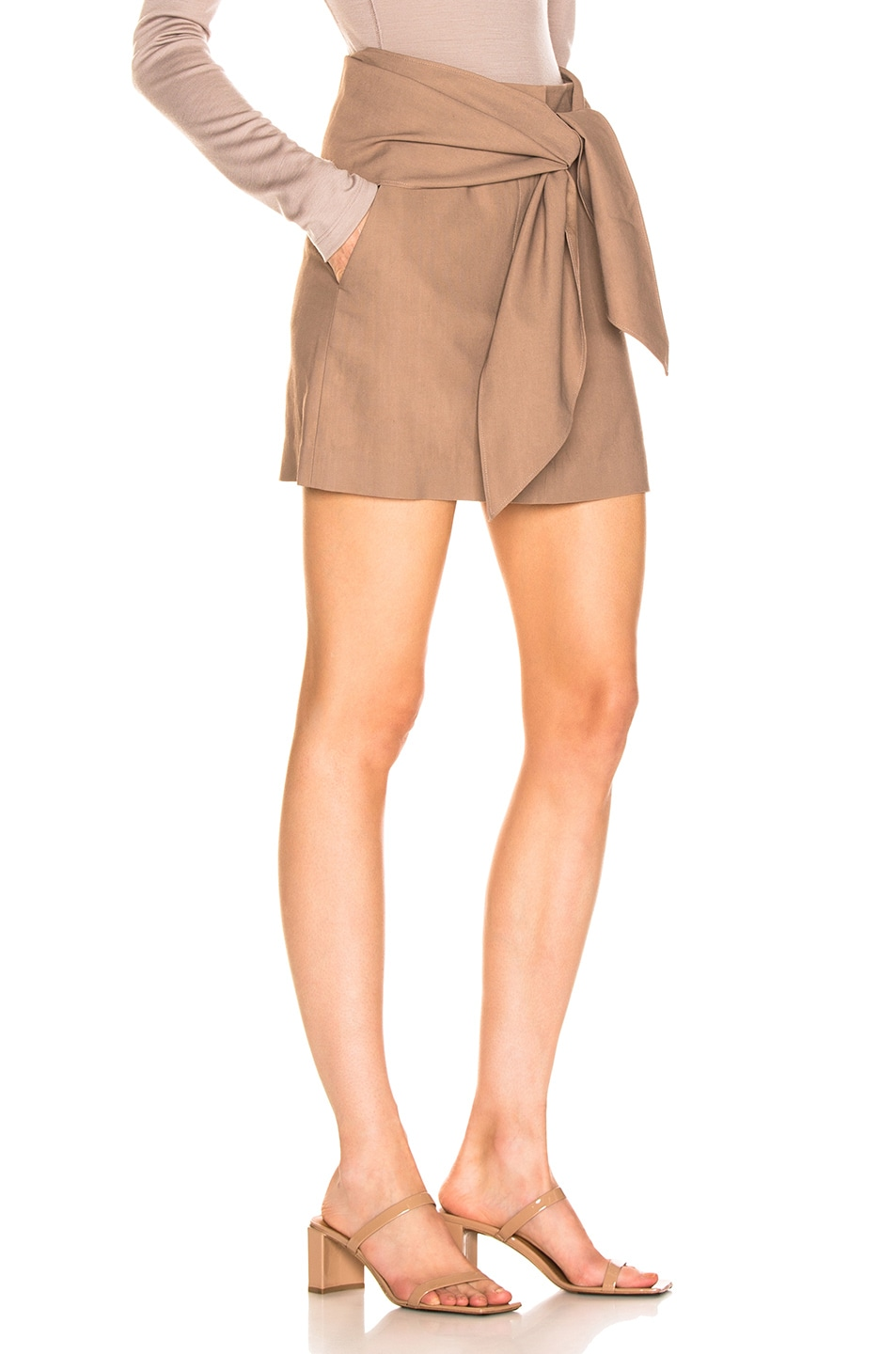 Image 3 of Tibi Linen Suiting Skirt with Detachable Top in Sable Brown