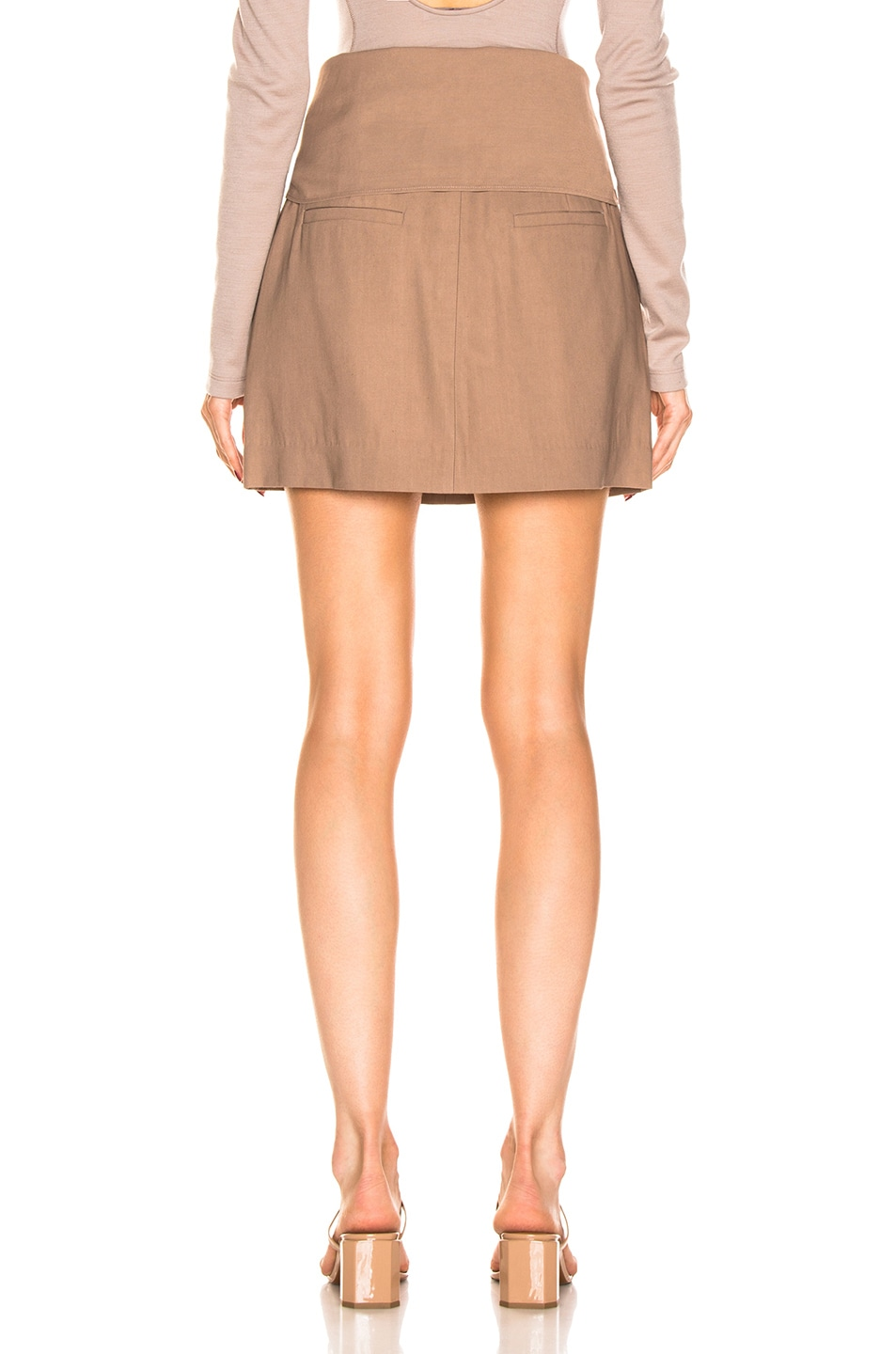 Image 4 of Tibi Linen Suiting Skirt with Detachable Top in Sable Brown