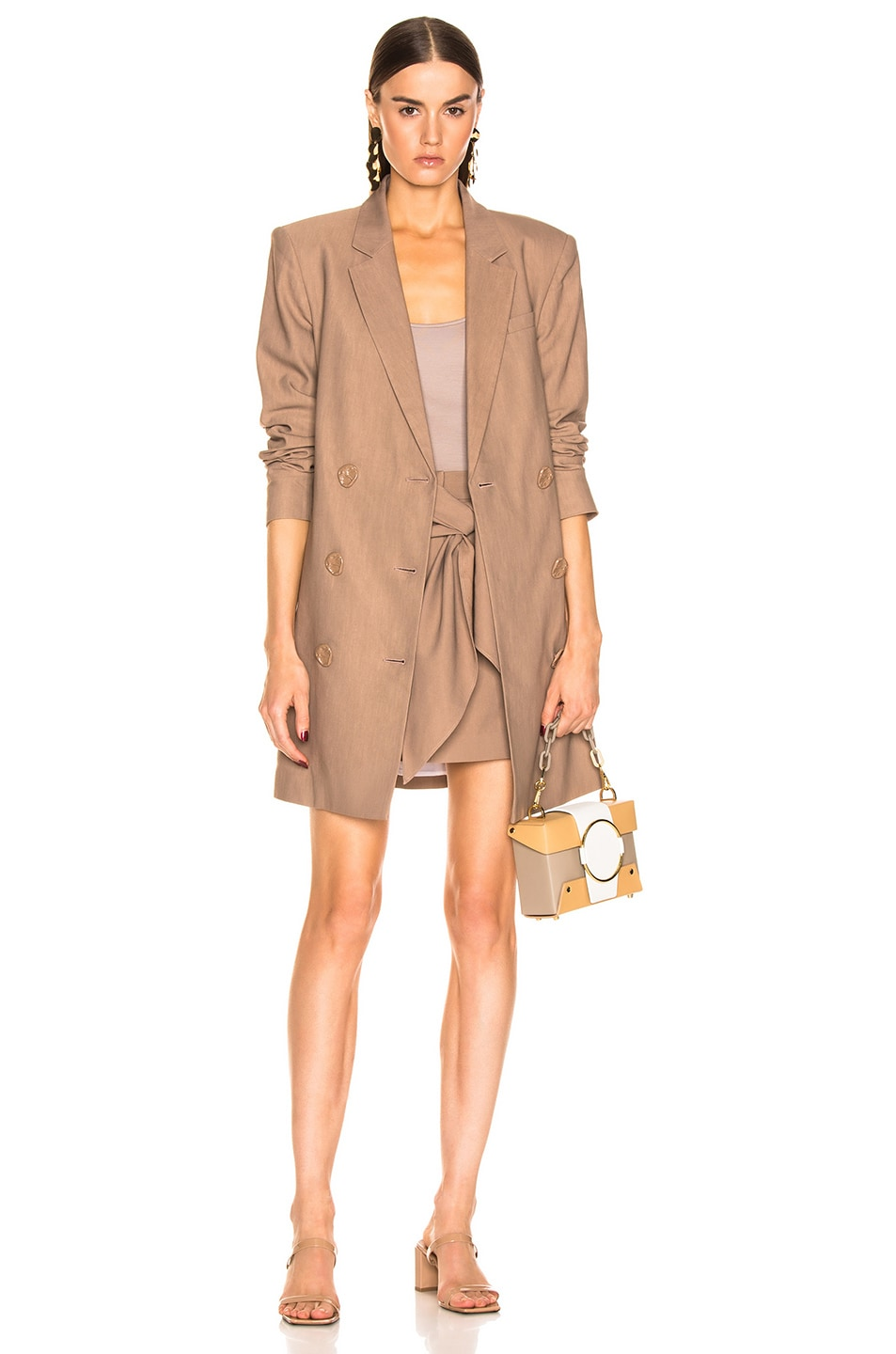 Image 5 of Tibi Linen Suiting Skirt with Detachable Top in Sable Brown