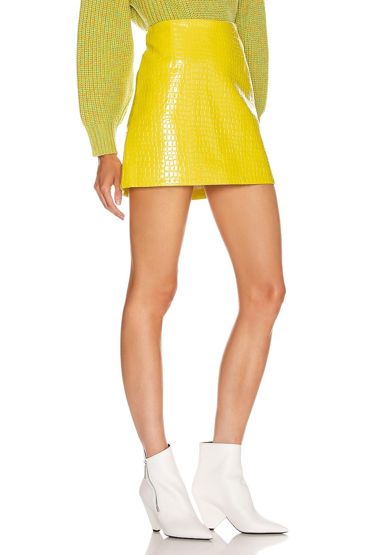 Image 2 of Tibi Croc Embossed Patent Mini Skirt in Yellow