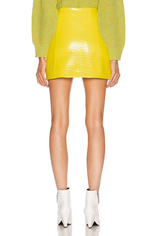 Image 3 of Tibi Croc Embossed Patent Mini Skirt in Yellow