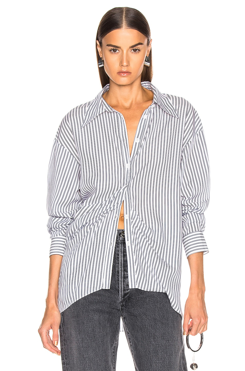 Image 1 of Tibi Draped Shirting Top in Blue Stripe