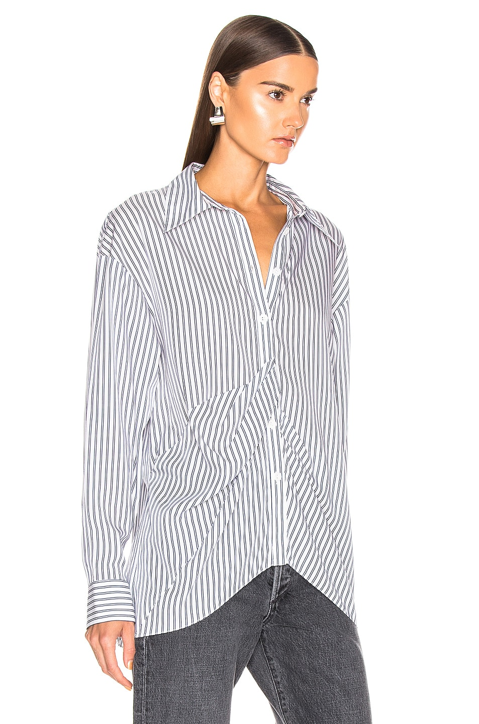 Image 2 of Tibi Draped Shirting Top in Blue Stripe