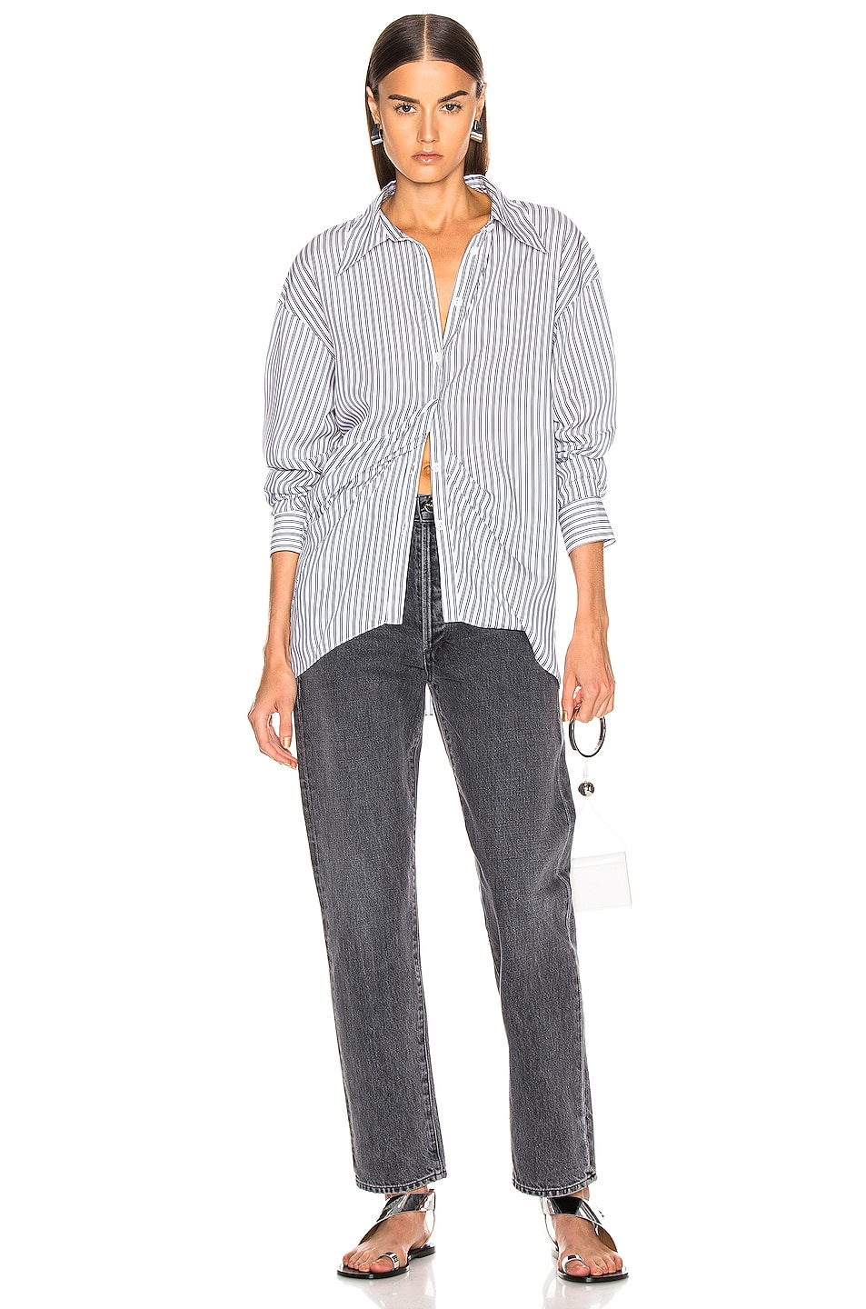 Image 4 of Tibi Draped Shirting Top in Blue Stripe
