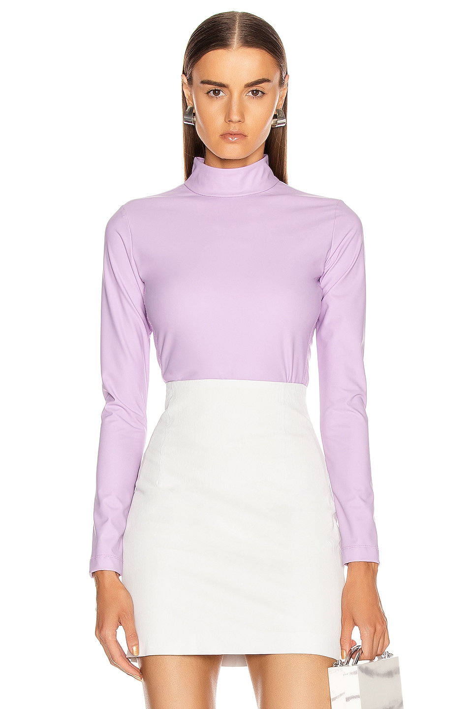 Image 1 of Tibi Scuba Mock Neck Bodysuit in Mulberry
