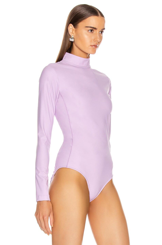 Image 3 of Tibi Scuba Mock Neck Bodysuit in Mulberry