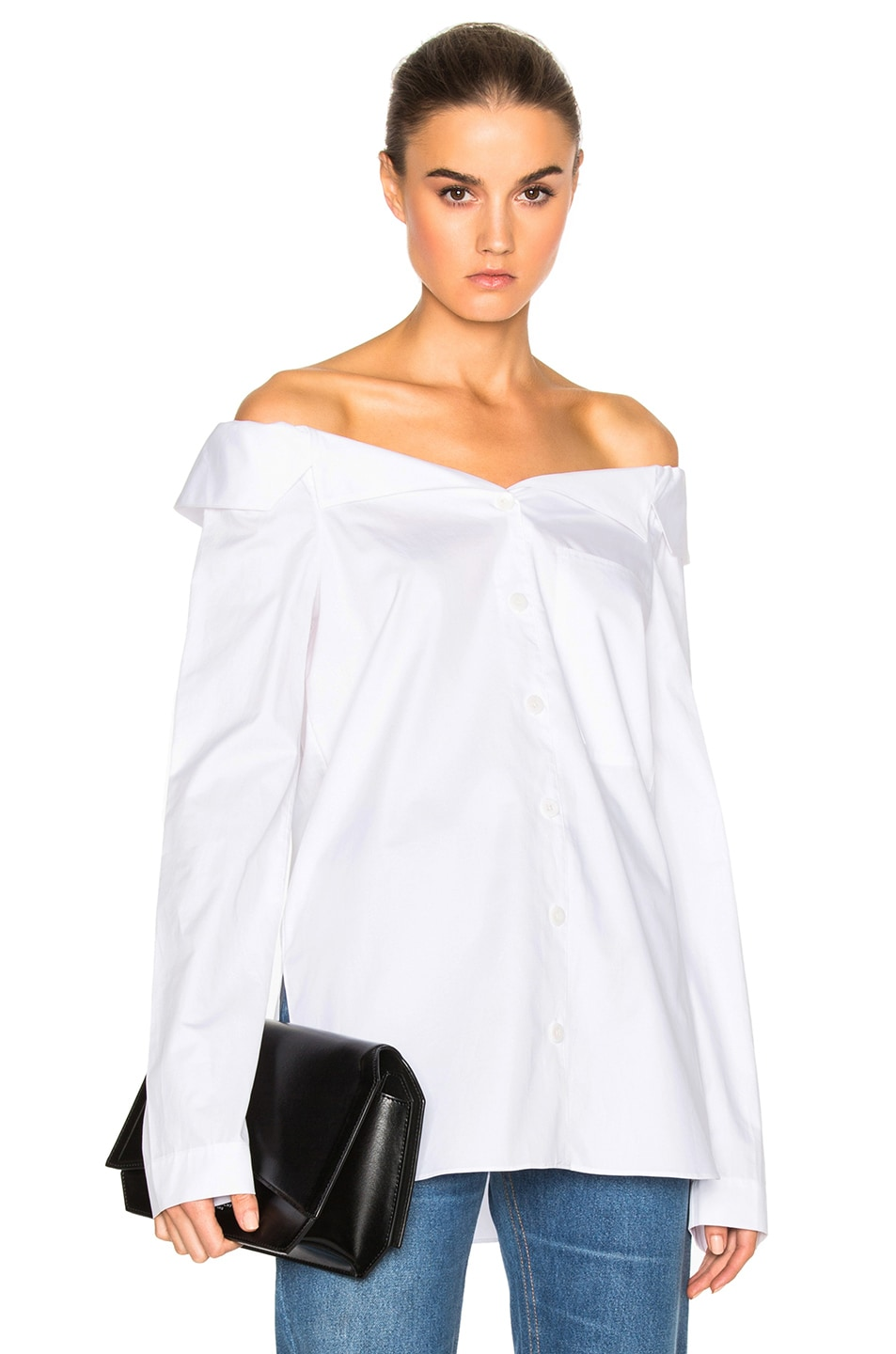 fd2105e59f49e Image 1 of Tibi Notched Off Shoulder Shirt in White