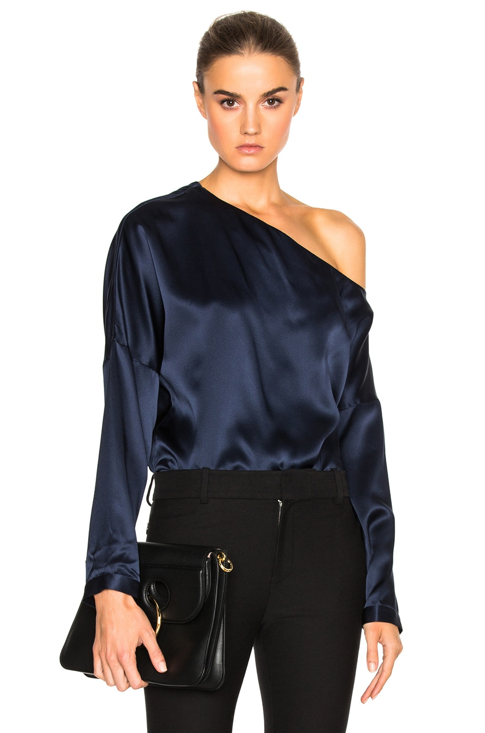 Tibi Asymmetrical Off The Shoulder Top in Navy | FWRD