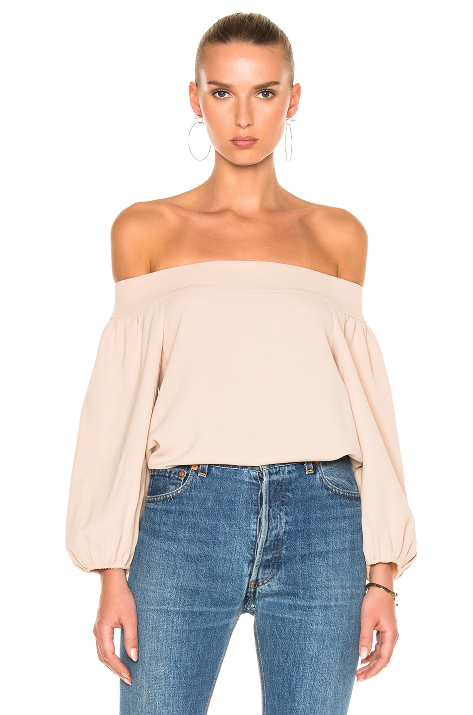Tibi Twill Off-Shoulder Top in Neutrals,Pink