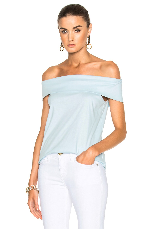 ef108820b2f Tibi Mercerized Knit Off the Shoulder Top in Light Blue | FWRD