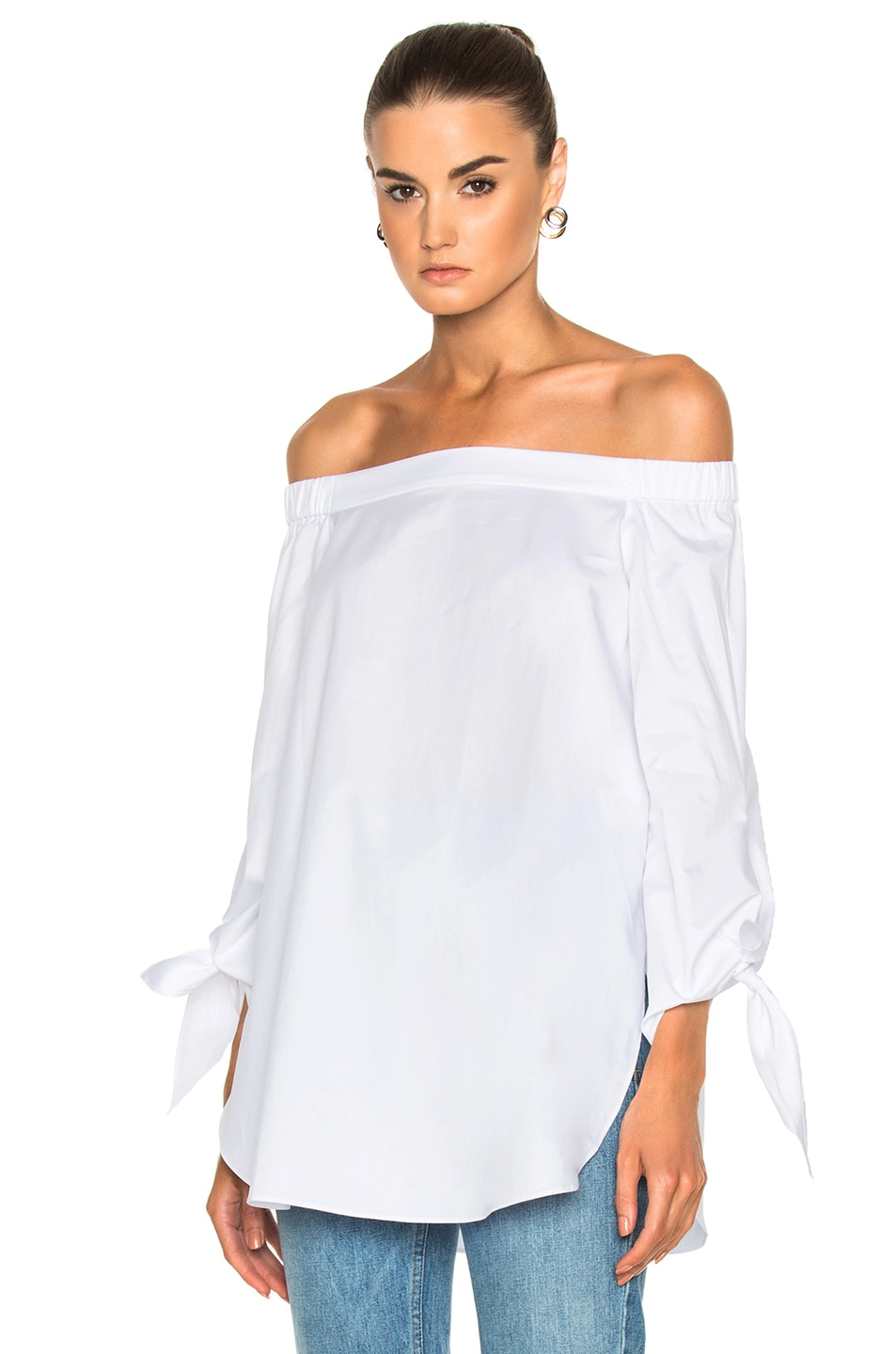 Image 1 of Tibi Off the Shoulder Tunic in White
