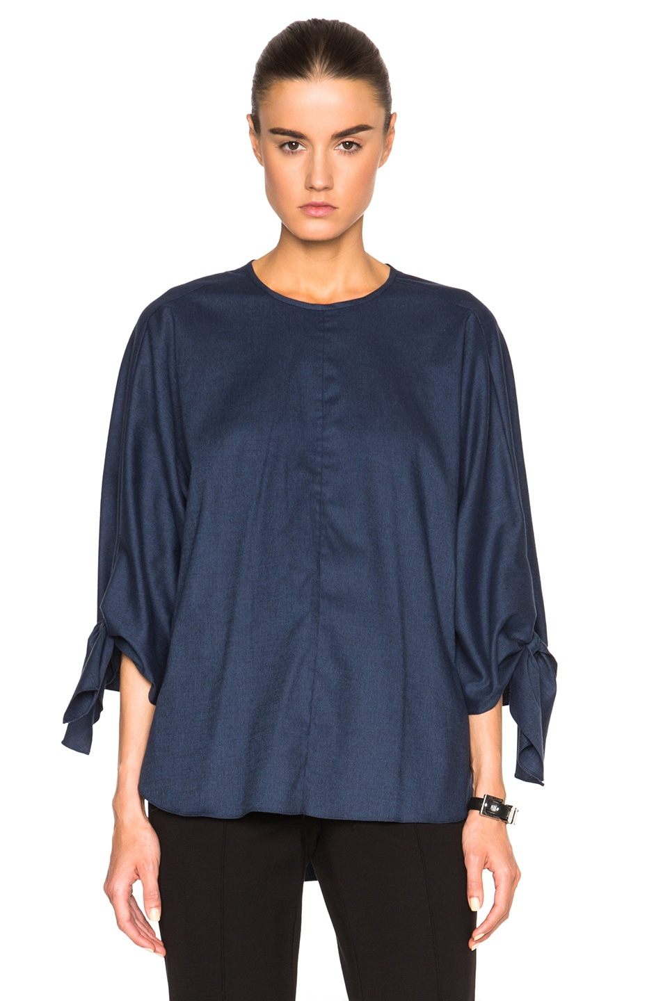 Image 1 of Tibi Sophia Tie Top in Boy Denim