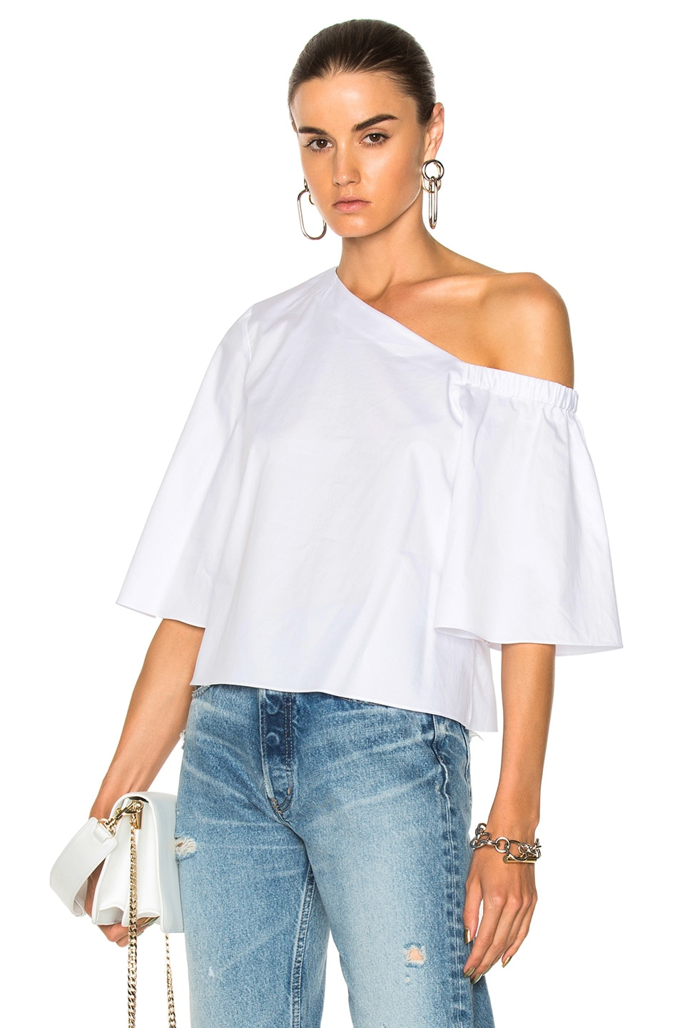 023bab1328 Image 1 of Tibi One Shoulder Bell Sleeve Top in White