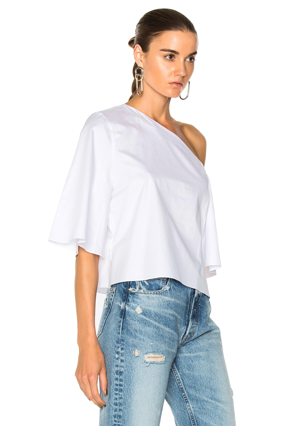 9ee184d1bb Image 2 of Tibi One Shoulder Bell Sleeve Top in White