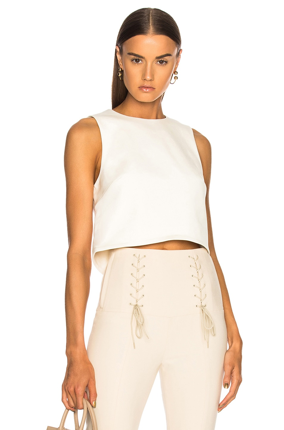 Image 1 of Tibi Sleeveless Crop Top in Ivory