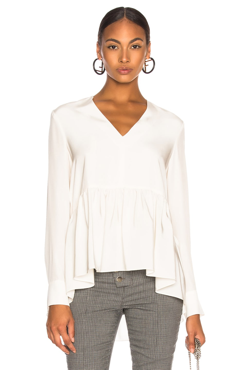 Image 1 of Tibi Silk CDC Peplum Top in Ivory