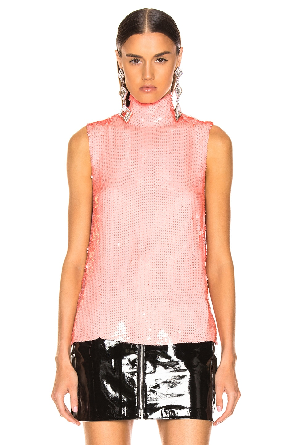 Image 2 of Tibi Beaded Turtleneck Shell Top in Pink