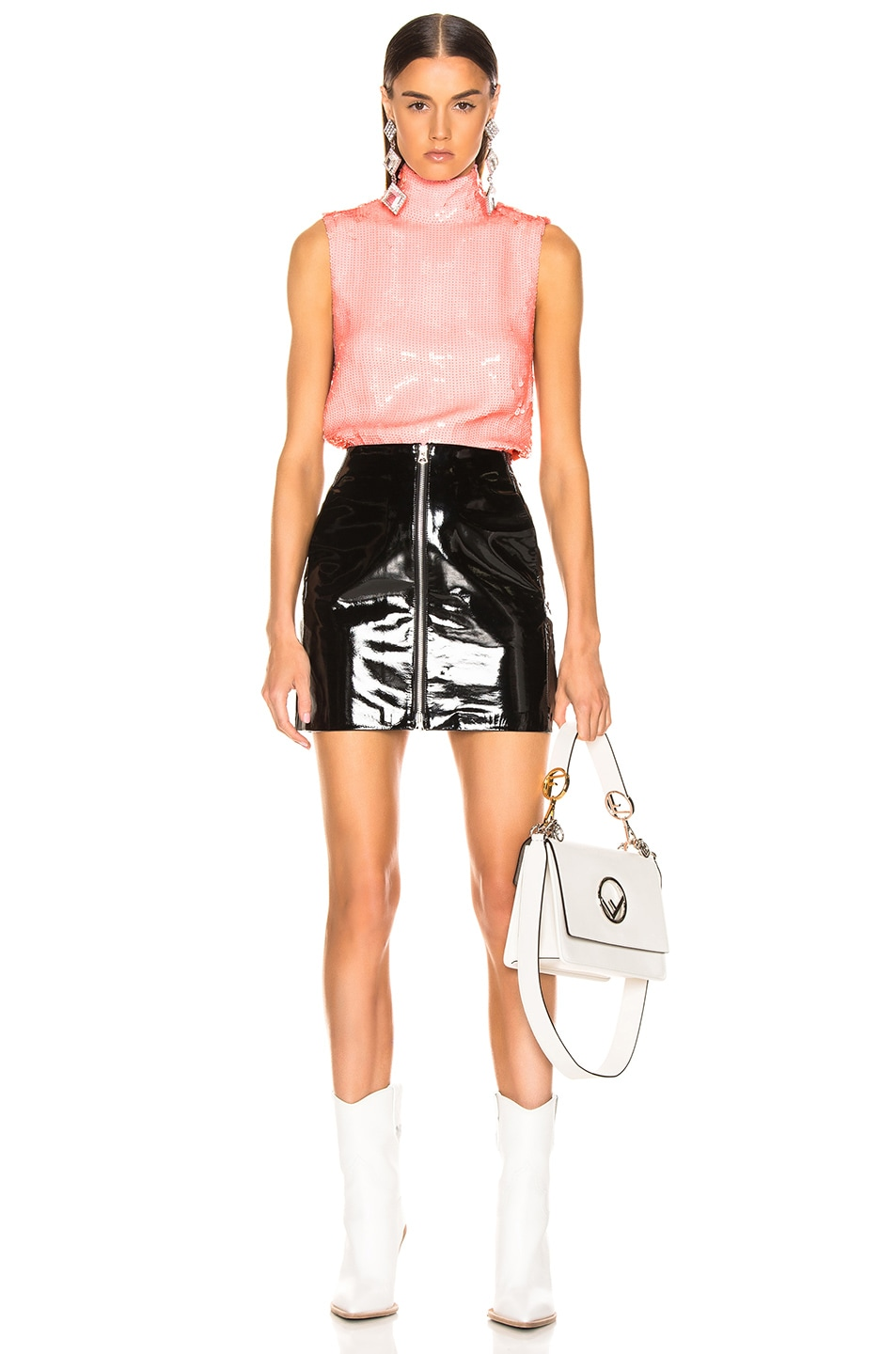 Image 5 of Tibi Beaded Turtleneck Shell Top in Pink