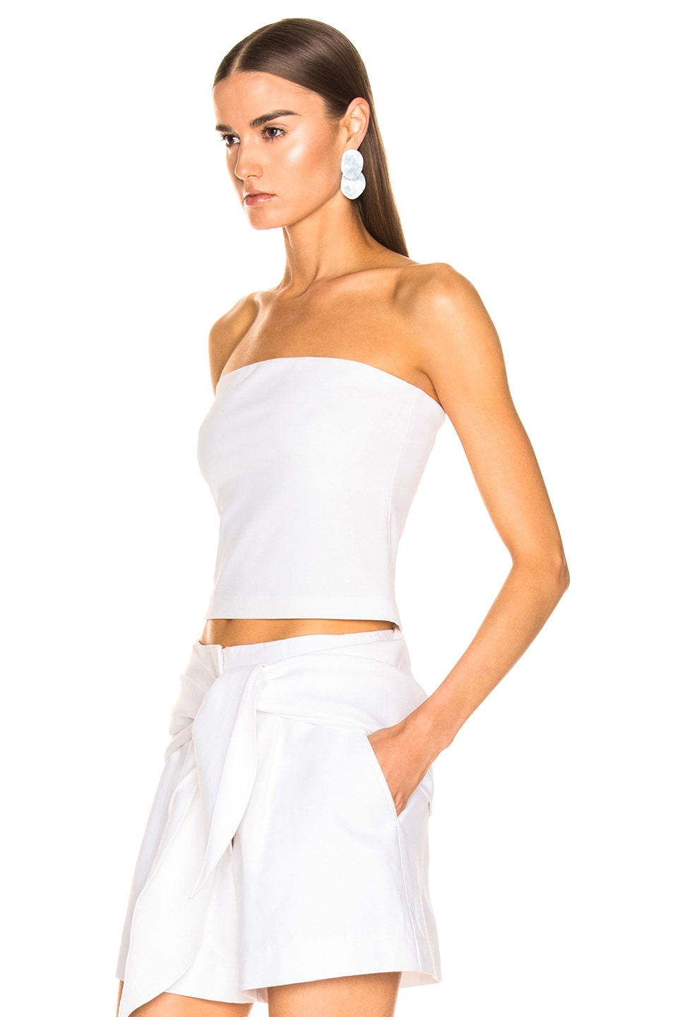 Image 3 of Tibi Structured Strapless Top in White