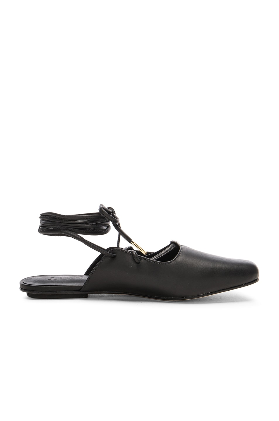 Image 1 of Tibi Leather Lila Slides in Black
