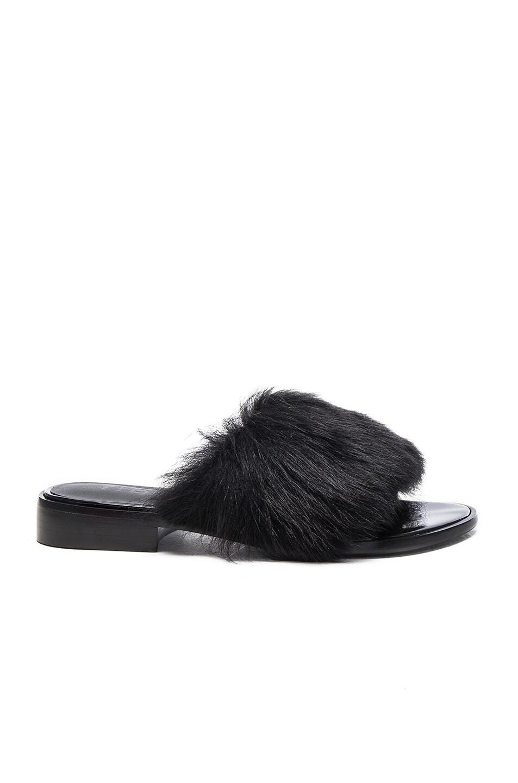 Image 1 of Tibi Kellen Lamb Shearling Sandals in Black