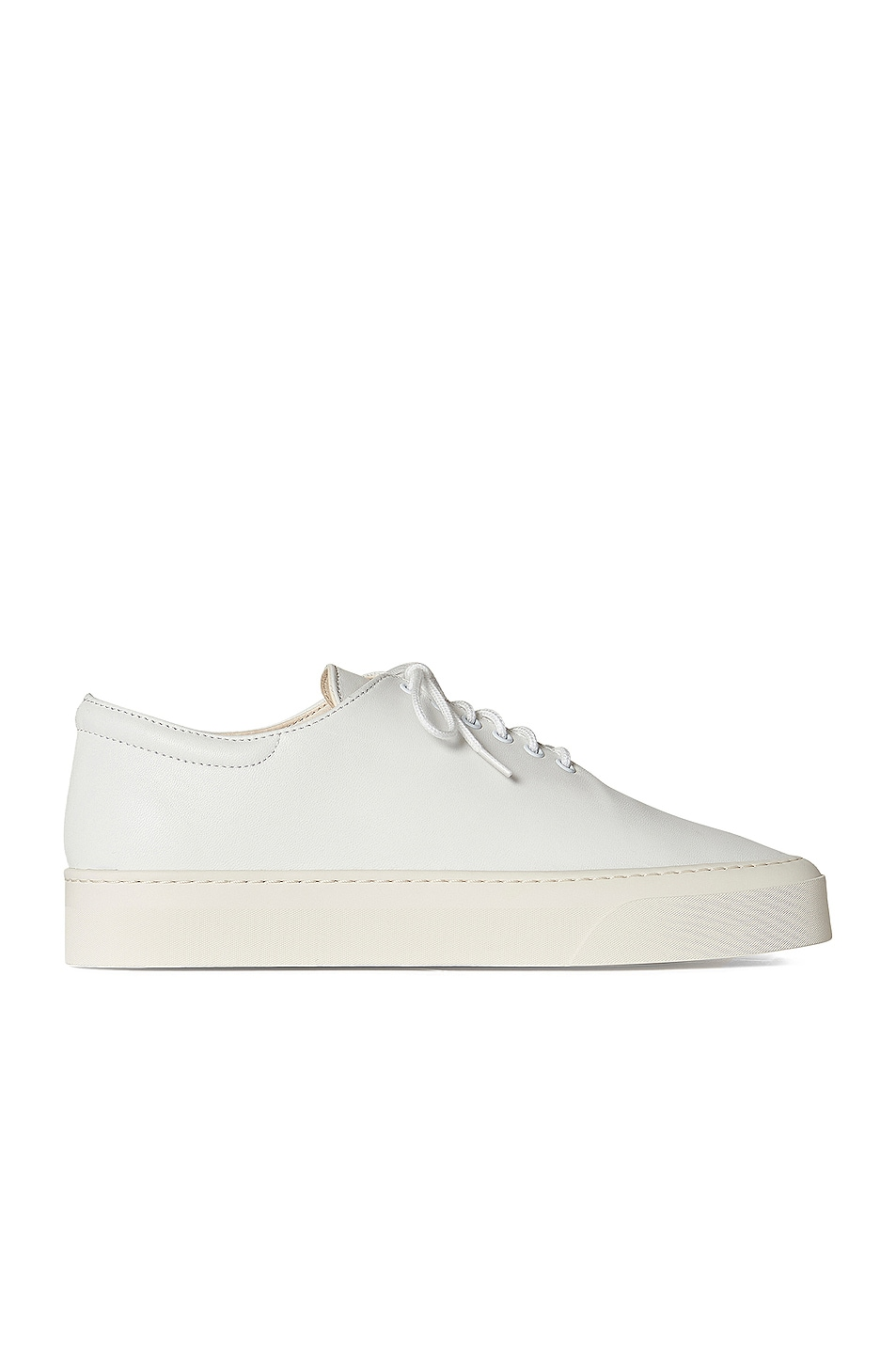 Image 1 of The Row Marie H Lace Up Leather Sneakers in Snow