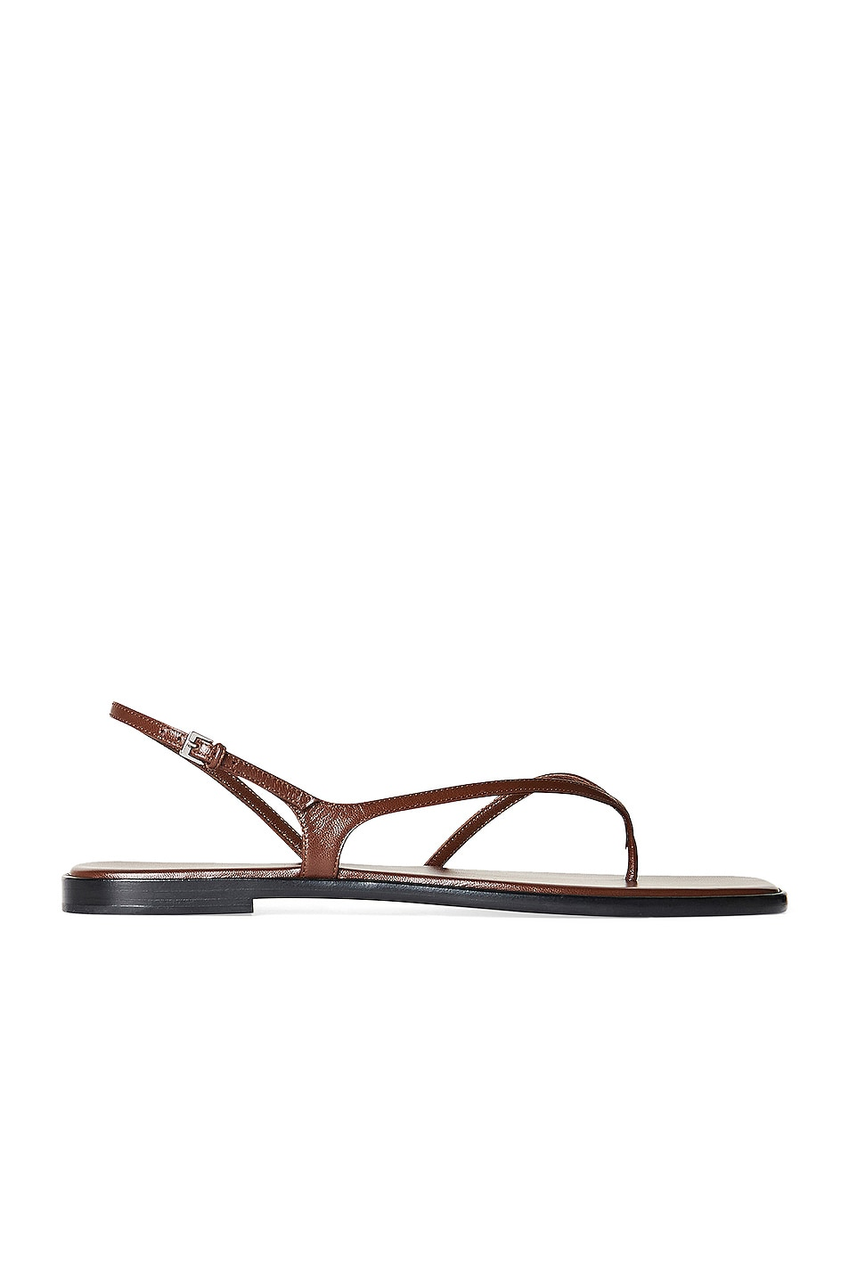 Image 1 of The Row Constance Leather Flat Sandals in Walnut