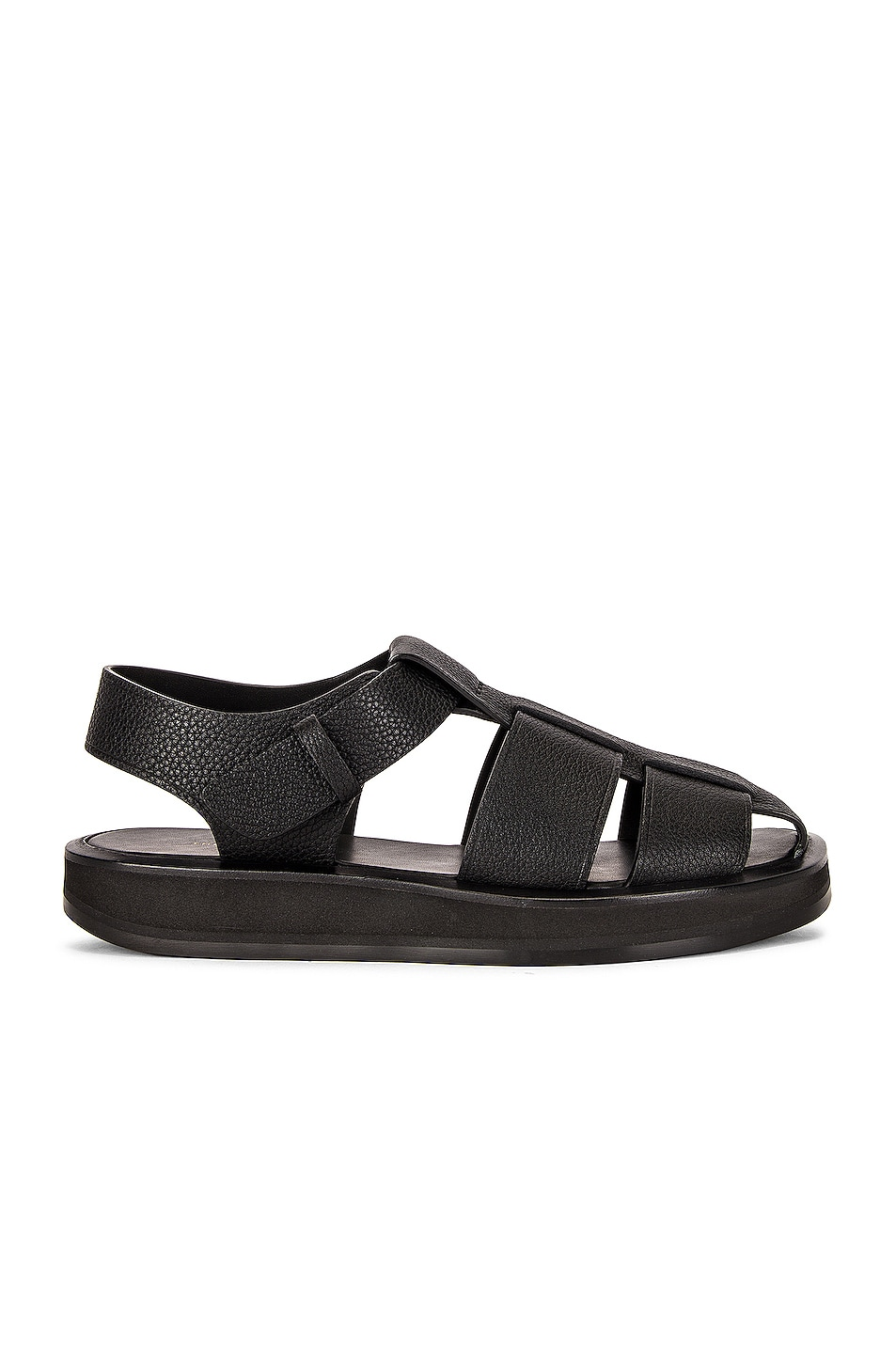 Image 1 of The Row Fisherman Leather Sandals in Black