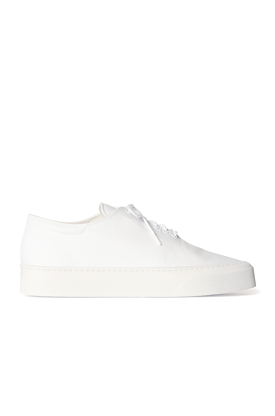 Image 1 of The Row Marie H Lace Up Canvas Sneakers in Bianco