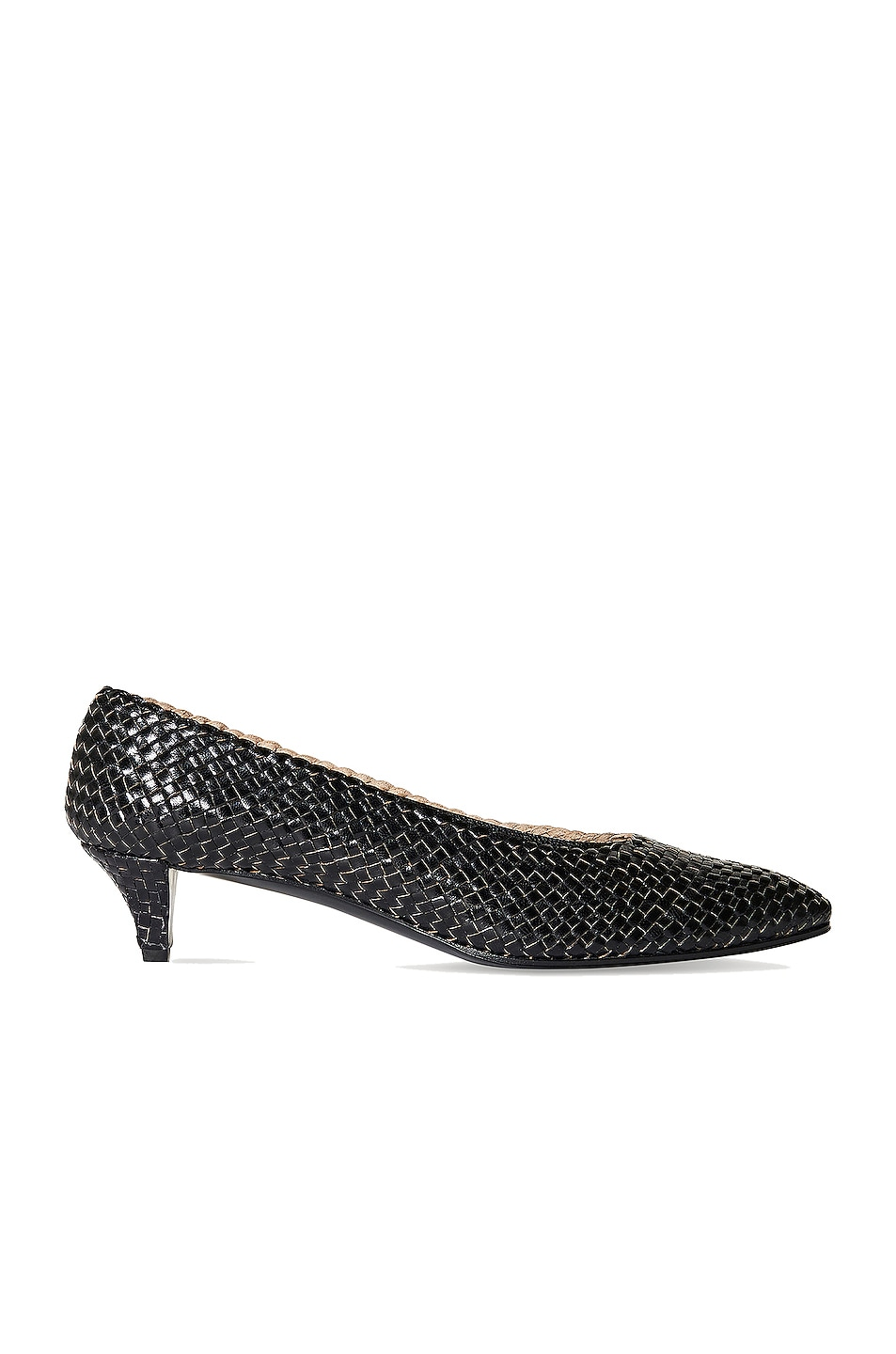 Image 1 of The Row Lady D Woven Leather Kitten Heels in Black