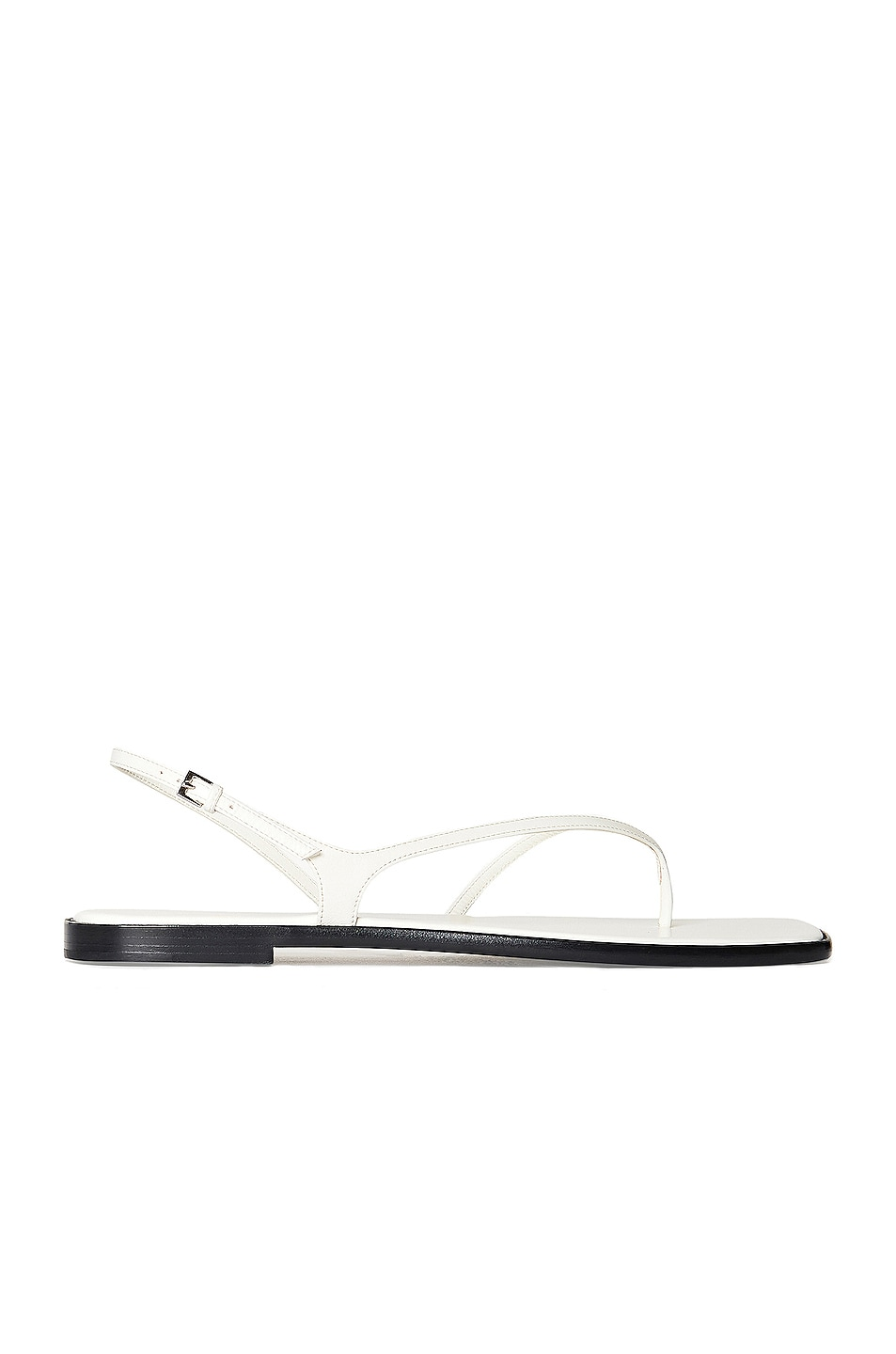 Image 1 of The Row Constance Leather Flat Sandals in Bianco