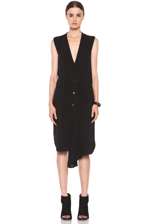 Image 1 of Tess Giberson Asymmetric Shirt Dress in Black