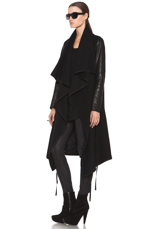 Tess Giberson Drape Coat with Leather in Black | FWRD